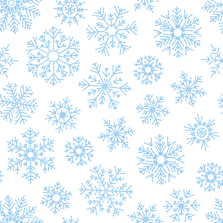 Abstract seamless pattern of falling blue snowflakes on white background. Winter pattern for banner, greeting, Christmas and New Year card, invitation, postcard, paper packaging. Illustration