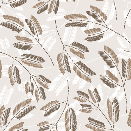 Beautiful vintage hand drawn leaf seamless pattern. Cute decoration for home decor. Embroidery stitches imitation.