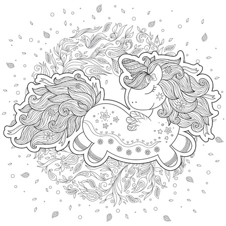 Unicorn magical animal. Black, white. Coloring book page for adult and kids.