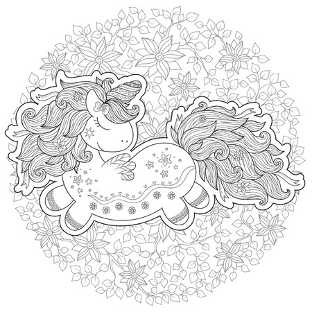 stylized cartoon unicorn isolated on white background. Perfect for adult antistress coloring page, T shirt print, logo or tattoo with doodle, invitation, greeting card.