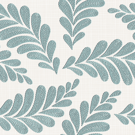 Embroidery floral seamless pattern on linen cloth texture for textile, home decor, fashion, fabric. stitches imitation Vektorové ilustrace