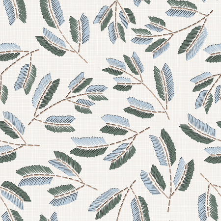 Embroidery floral seamless pattern on linen cloth texture for textile, home decor, fashion, fabric. stitches imitation Vecteurs