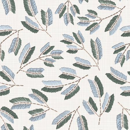 Stickerei floral nahtlose Muster auf Leinenstoff Textur für Textilien, Wohnkultur, Mode, Stoff. Stiche Nachahmung Vektorgrafik