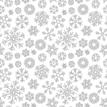 Abstract hand drawn outline seamless pattern with snowflakes   white background. Coloring antistress book for adult and older children. Ilustração