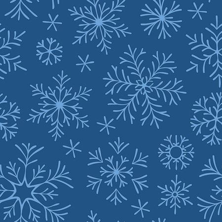 Hand drawn doodle seamless pattern. Blue snowflakes on a dark background. For fabric, textile, wrapping paper, card, invitation, wallpaper, web design.