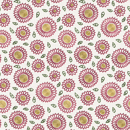 Embroidery floral seamless pattern on linen cloth texture  for textile, home decor, fashion, fabric.  stitches imitation
