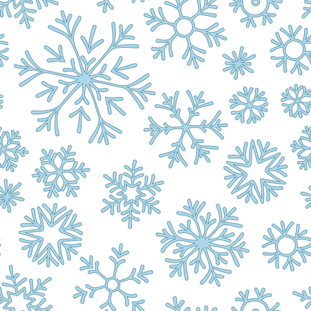 Abstract seamless pattern of falling blue snowflakes on white background. Winter pattern for banner, greeting, Christmas and New Year card, invitation, postcard, paper packaging.