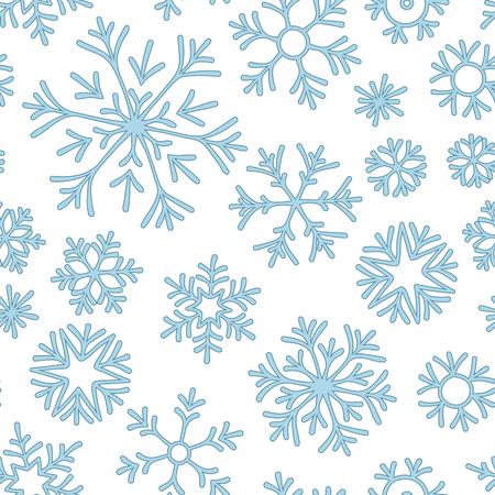 Résumé motif transparent de flocons de neige bleu tombant sur fond blanc. Modèle d'hiver pour bannière, voeux, carte de Noël et du nouvel an, invitation, carte postale, emballage en papier.