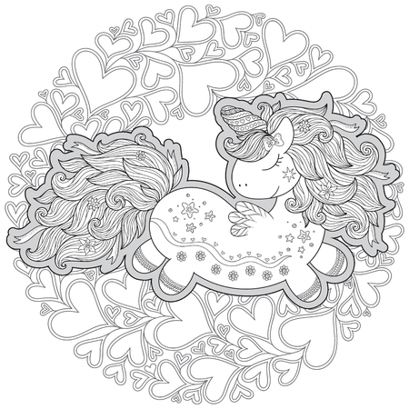 Unicorn in hearts. Coloring book for adult and older children. Outline drawing coloring page.