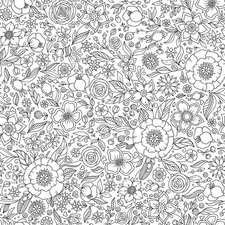 Pattern for coloring book. Pages for kids and adults. Henna Mehendy Tattoo Doodles Seamless Pattern Ilustração