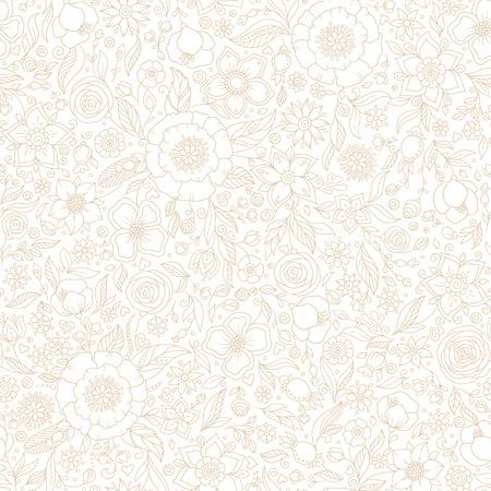 Patrón floral vector transparente, telón de fondo de primavera / verano. Diseño de superficie dibujado a mano con flores en el jardín. La textura perfecta se puede utilizar para fondos de pantalla, rellenos de patrón, texturas superficiales. Ilustración de vector