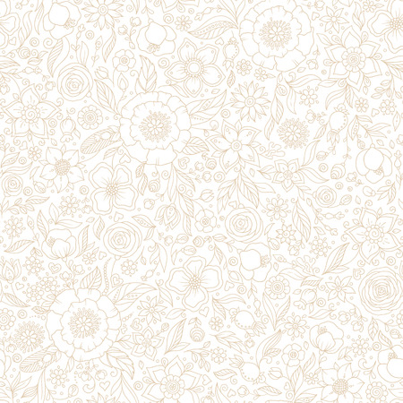 Seamless vector floral pattern, spring/summer backdrop. Hand drawn surface design with flowers in garden. Seamless texture can be used for wallpapers, pattern fills, surface textures. Ilustração Vetorial
