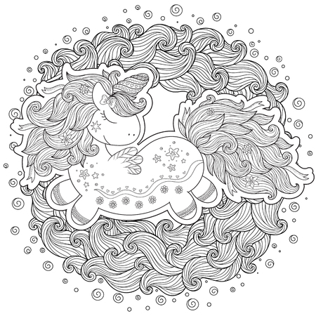 Unicorn in waves. Coloring book for adult and older children. Outline drawing coloring page.