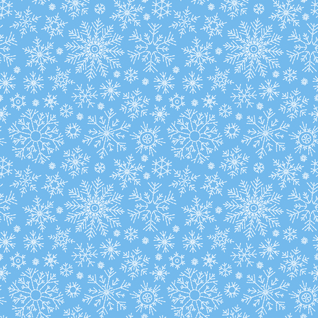 Christmas seamless doodle pattern with snowflakes.