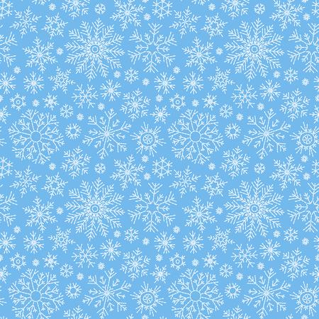 Patrón de doodle transparente de Navidad con copos de nieve.