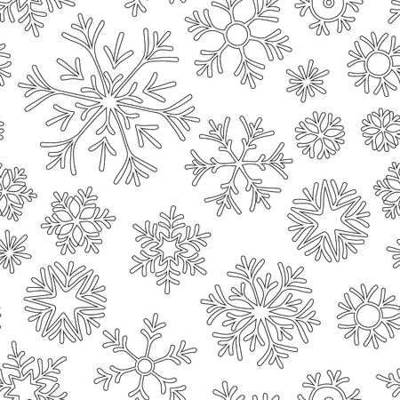 Anti-stress coloring book page for adult with doodle  snowflakes. Winter background pattern Illustration