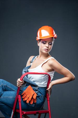 Portrait of a female construction worker. Building, repair concept. selfie