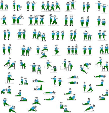 Big set of doodle vector silhouettes of old woman doing fitness workout in many different position. Active and healthy life concept