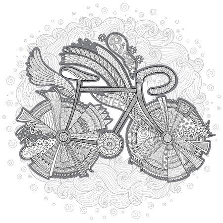 Bicicleta con flor sobre fondo blanco. Dibujado a mano, doodle, vector, elementos de diseño. Fondo blanco y negro. Página de libro para colorear para adultos.