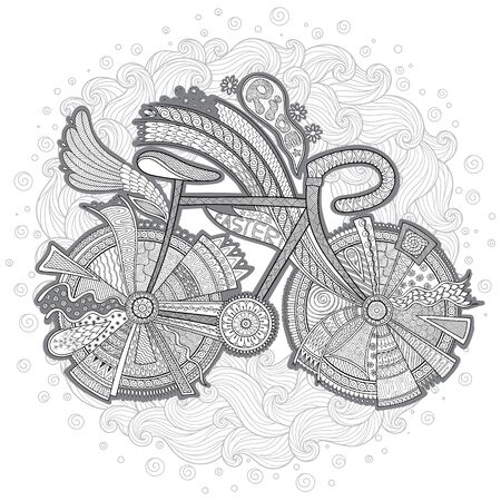 Bike with flower on white background. Hand-drawn, doodle, vector, design elements. Black and white background. Coloring book page for adult.