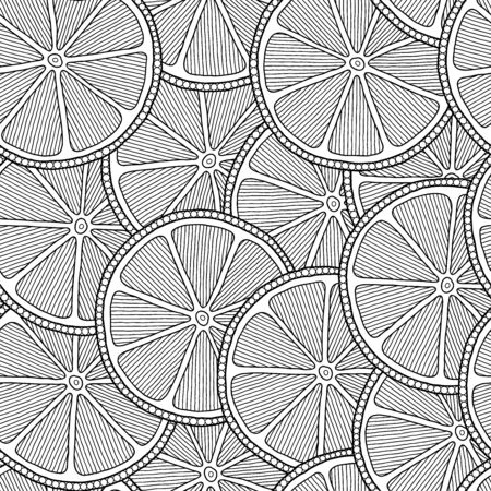 Funny black and white cartoon seamless pattern of lime fruit. Coloring book page. Adult antistress therapy.