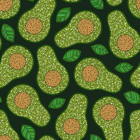 Big colorful cartoon  avocados in flat color  dark background seamless pattern. Print, texture, healthy eating