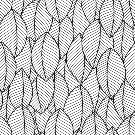 Vector seamless pattern of leaves . black and white graphics Linear. Hand drawing.Good for textile printing and adult coloring books. Standard-Bild - 130572052