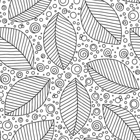 Seamless pattern with tribal leaf. Forest pattern. Nature backdrop, repeated background. Can be used as adult coloring book, coloring page. Foliage