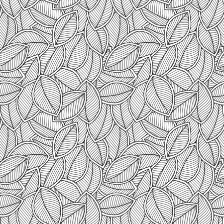 Seamless doodle  leaves pattern for coloring book. Ethnic, floral, retro, vector, tribal design element. Black and white background. Stock Illustratie