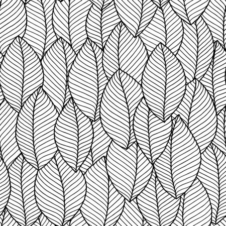 Seamless doodle  leaves pattern for coloring book. Ethnic, floral, retro, vector, tribal design element. Black and white background. Standard-Bild - 130572059