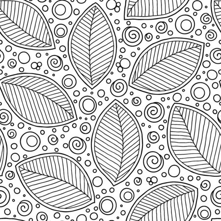 Seamless doodle  leaves pattern for coloring book. Ethnic, floral, retro, vector, tribal design element. Black and white background. Standard-Bild - 130572063