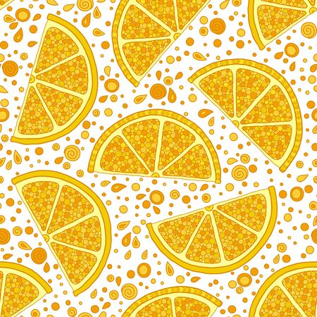Fresh lemons background, hand drawn, on a white background . Doodle wallpaper. Colorful seamless pattern with fresh fruits collection. Decorative illustration, good for printing   イラスト・ベクター素材