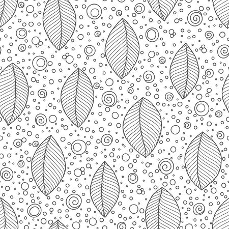 Coloring book page for adults, doodle. Joy to adult colorists, who like art, relax and meditation. Decorative ethnic leaf black and white seamless pattern.