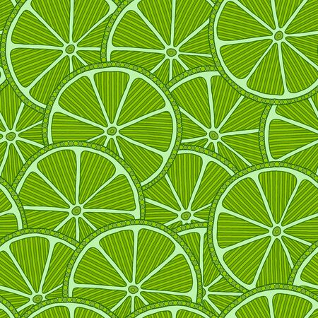 Lime seamless pattern. Fruit background. Lime slices. Set of herbal element for advertising, packaging design of mint products.