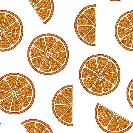Oranges slices seamless pattern. Hand drawn fresh tropical citrus fruit. Multicolored sketch background. Colorful doodle wallpaper.
