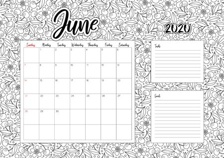 2020 Antisterss calendar, doodle illustration. Coloring Book. June 向量圖像