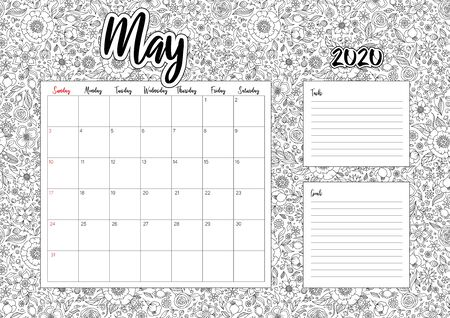 2020 Antisterss calendar, doodle illustration. Coloring Book. May