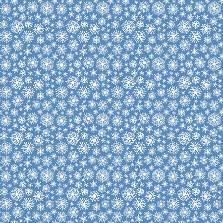 Hand drawn doodle seamless pattern. White snowflakes on a dark background. For fabric, textile, wrapping paper, card, invitation, wallpaper, web design.  Çizim