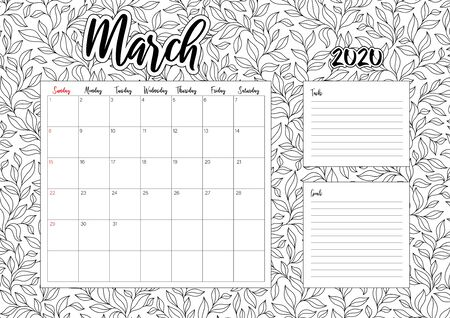 2020 Antisterss calendar, doodle illustration. Coloring Book. March