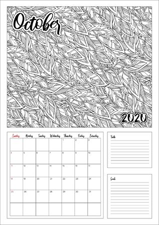 2020 Antistress calendar, doodle illustration. Coloring Book. Printable. Ilustracja