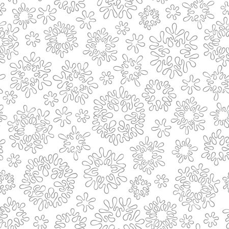 Abstract hand drawn outline seamless pattern with snowflakes isolated on white background. coloring antistress book for adult and older children. Art vector illustration.