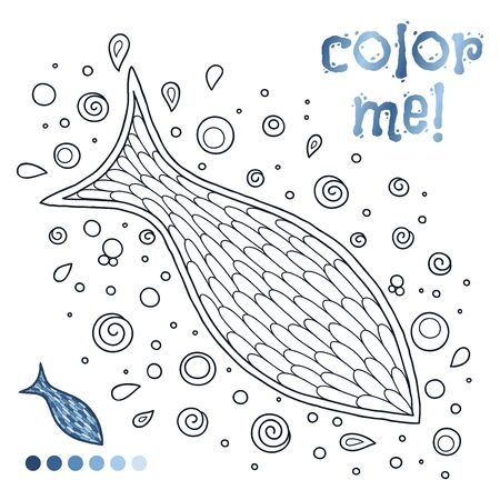 Coloring book page for children with outlines of fish and a colorful copy of it. Illustration for kids education or adult antistress. Ilustrace