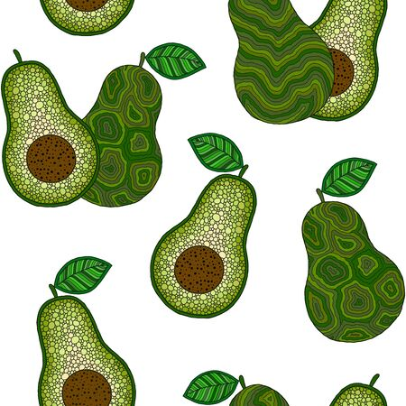 Hand drawn cartoon avocado seamless pattern. Whole avocado, sliced pieces, half, leaf and seed sketch. Tropical summer fruit engraved doodle style background. Foto de archivo - 134435939