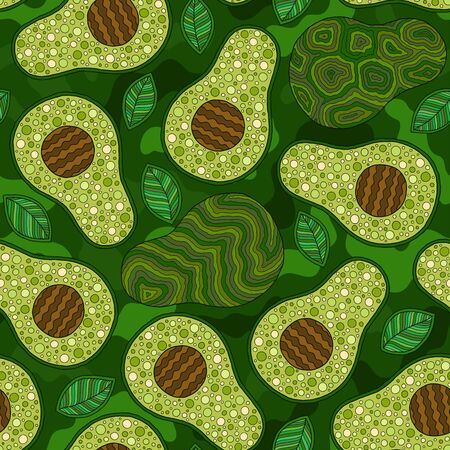 Avocado cartoon seamless pattern on green background. Banner, poster, wrapping paper, modern textile design, promotional material Foto de archivo - 134436052