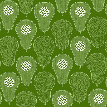 Seamless pattern from hand-drawn cartoon avocados on a green background. Doodle style. Banner, poster, wrapping paper, modern textile design, promotional material Foto de archivo - 134436162