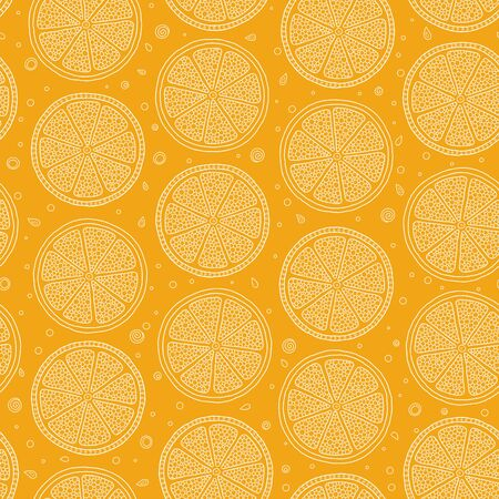 Seamless pattern with hand drawn oranges. Background for textile, kitchen dish and wrapping paper. Ilustracja