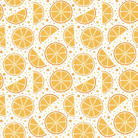 Oranges slices seamless pattern. Hand drawn fresh tropical citrus fruit. Multicolored sketch background. Colorful doodle wallpaper