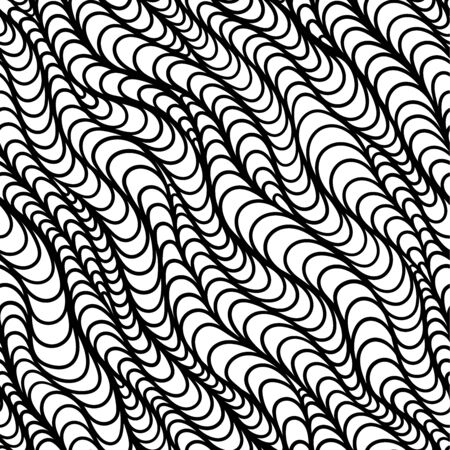 Black and white vector seamless abstract hand-drawn pattern. Wave Hand drawn seamless  background.