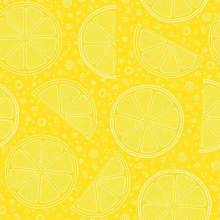 Fresh lemons  hand drawn on a yellow background . Doodle wallpaper. Colorful seamless pattern with fresh fruits collection. Decorative illustration, good for printing