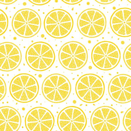 Fresh lemons  hand drawn on a white background . Doodle wallpaper. Colorful seamless pattern with fresh fruits collection. Decorative illustration, good for printing